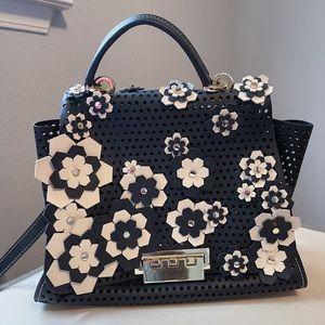 Black + cream leather bag